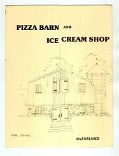 Pizza Barn and Ice Cream Shop Menu McFarland Wisconsin 1980's