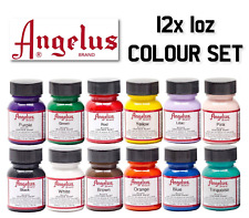 Angelus Leather Paint 12 x 1oz Primary Colours Shoes Boots Bags Trainers Set 2