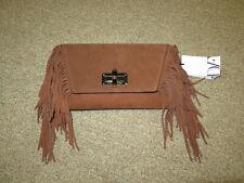 Diane Von Furstenberg NWT tobacco Brown Suded Boho purse clutch Fringe NEW DVF