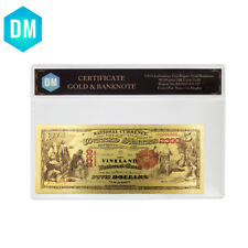 5 Dollar 1875 Year Colorful Gold Banknote 999 Gold Foil Bill Note with COA Frame