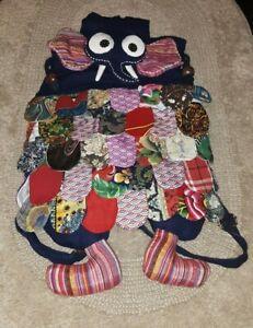 Elephant Cloth Fabric Kids Bag Children Backpack Multicolor