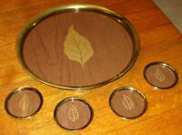 Vintage Wood and Brass Serving tray and coasters with leaf Design