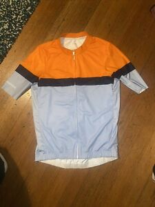 La Passione Cycling Jersey Mens Large Orange/Navy/Powder Blue