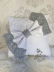 Bow Cushion. White. Crushed Velvet. Silver. Glitter. 12 x 12 inches