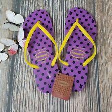 New HAVAIANAS sz USA 9/10W (EUR 41-42) womens slim fresh purple yellow flip flop
