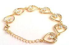 Hot fashion Gold Plated Heart Clear Austrian Crystal Bracelet for girl women