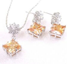 Women Wedding Xmas Champagne CZ Cubic White Gold Plated Earrings Necklace Set