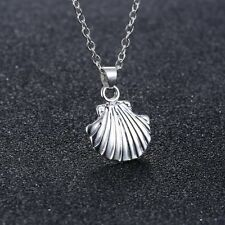 Pendant Simple Chain Necklace Party Jewelry Charm Silver Tone Sea Shell Mermaid