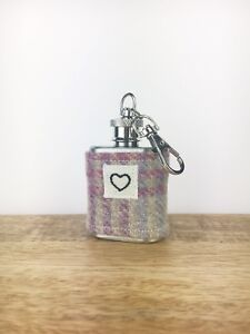HEART Mini Hip Flask Keyring - Tweed Keychain - Tweed Gift - Stocking Filler