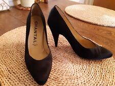 Vintage Chantal Hand crafted in Italy black Satin pumps size 6.5 Euc