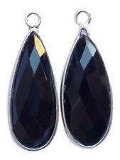 Black Onyx and Sterling Silver Faceted Pear Shape Pendants 23mm Beading Supplies
