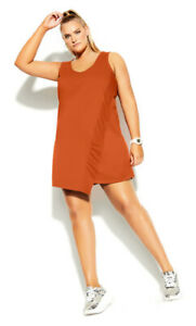 CITY CHIC S 16 NWT RRP $79.95 Relaxed Hem Dress - Lava