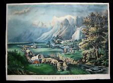 1866 Original Currier Ives Print of Rocky Mountains Emmigrant Crossing Plains
