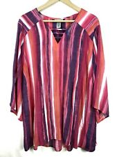 Catherines Top 2x Stripe Gauzy Cutout V-Neck 22W 24W Multicolor Plus Women M2