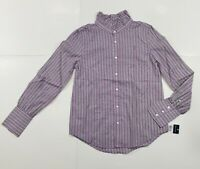 New with tag Girls RALPH LAUREN POLO Purple Stripes Long Sleeve Blouse Shirt 14