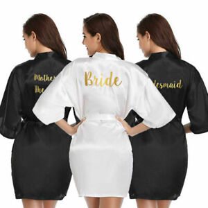 Personalised Satin Silk Wedding Bride Bridesmaid Robe Mother Dressing Gown Black