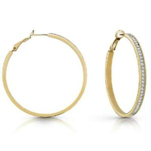 Guess All Around Guess Gold Plated Ladies Hoop Earrings UBE28095