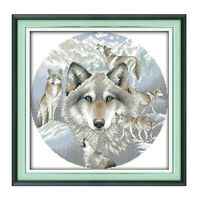 Stamped Cross Stitch Kit Pre-Printed Pattern Embroidery Animal Wolf