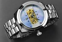ARAGON Mens Automatic 23 jewel Skeleton   Platinum Real Mother-of-Pearl Dial