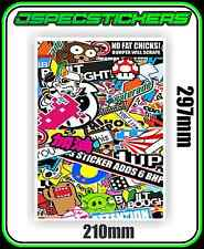 STICKERBOMB SHEET PRINTED VINYL DRIFT JDM WRAP STICKER BOMB RC DECAL A4 CAR