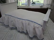 Vintage White Doll Bedspread Blanket cover dotted Swiss  Blue trim