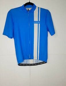 Capo Cycling Jersey Full Zip Short Sleeve Blue White Stripe Size Small