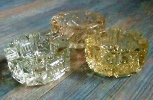 3 little vintage  pressed glass ashtrays