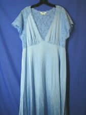VANITY FAIR Unusual Style BLUE NIGHTGOWN LINGERIE Plunging Neck FUZZY LACE VTG L