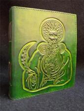 DIARIO in pelle fatto a mano verde GIORNALE pagan wicca Libro delle Ombre-Celtic druid
