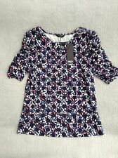 Ladies Size 10 Blue & Pink Small Top. M & Co. Mandolin, Navy Blue Top & Pink.