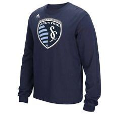 Sporting Kansas City Mls Adidas Men's Logo Set Navy Long Sleeve Cotton T-Shirt