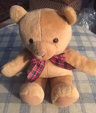 Plush Plaid Bow Tie Gund Teddy Bear Stuffed Animal Used Condition