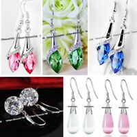 Unique Crystal Drop Earrings Blue Pink Green Silver Xmas Gifts For Her Women Mum