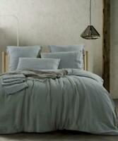 Pure French Linen Sheet Set Fitted Flat Sheet Set - Duck Egg Blue Queen Size