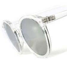Classic Retro Fashion Hipster Mens Womens Transparent Round Mirrored Sunglasses