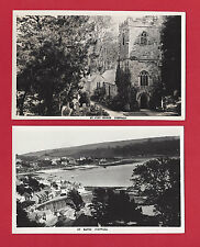 ENGLAND Cornwall St Just & St Mawes Church Vintage Photo Lot of Two Vtg B&W RPPC