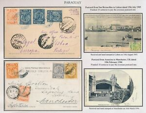 1905 PARAGUAY POSTCARD COVERS, INC RARE SAN BERNARDINO COLONY TO PORTUGAL