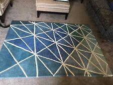 AMARA *QUALITY* DESIGNER 100% WOOL RUG. Modern Geometric Blue Green £400