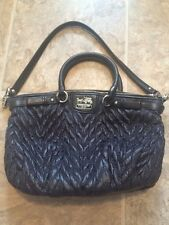Coach Madison Sophia Nylon Quilted Chevron Purse Tote Handbag Black 18637
