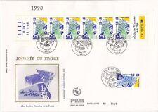 Enveloppe grand format 1er jour 1990 Journée du timbre Services Financiers Poste