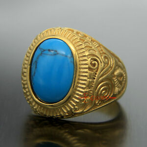 Large Natural Oval Blue Turquoise Gemstone Gold Stainless Steel Ring Mens Womens