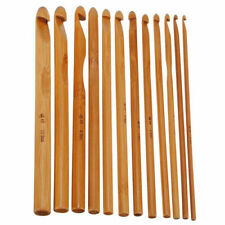 12x Bamboo Wooden Handle Crochet Hooks 3mm-10mm Knit Handcraft Needle Yarn Set