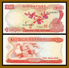 Singapore 10 Dollars, 1973 P-3d With Red Seal Circulated (Cir)