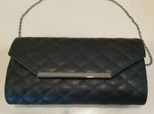 Kelly & Katie quilted black evening clutch w/ chain strap handbag magnetic