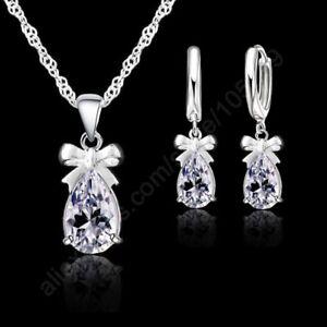 Womens Fashion Wedding Bridal Jewelry 925 Silver Necklace Earrings Sets TK5