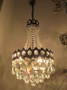 Antique Vnt French Basket Crystal Chandelier Lamp Light 1940's 12in Ø diamter