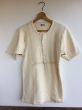 Vtg 30s 40s work wear travailleur corvée français henley shirt débardeur deadstock small