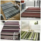 ELEMENT CANTERBURY STRIPED GREY, RED, PURPLE & GREEN SMALL LARGE RUG & RUNNER
