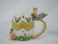 Omnibus Fitz and Floyd Eggspress Painting Mug Boy Bunny Rabbit 1994