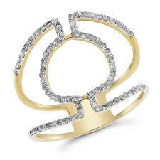 14K Yellow Gold Pave Round Diamond Cocktail Wide Right Hand Ring